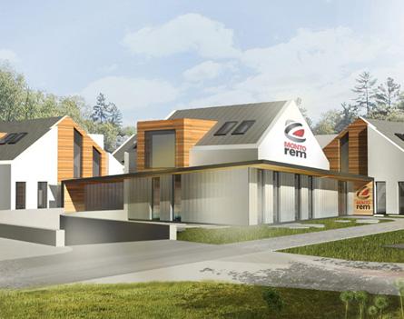 Projekt 4 budynków biurowych z łącznikami i garażem podziemnym