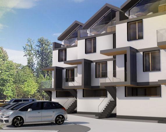 Stefanowicza – koncepcja 3 budynków jednorodzinnych 2- lokalowych